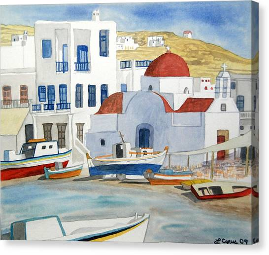 Watercolor - Mykonos Greece Detail Canvas Print