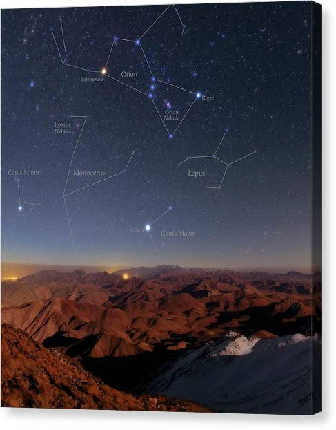 Orion And Sirius Over Iran Canvas Print by Babak Tafreshi/science Photo Library