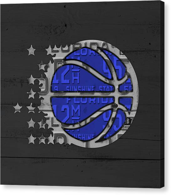 Orlando Magic Canvas Print - Orlando Magic Basketball Team Logo Vintage Recycled Florida License Plate Art by Design Turnpike