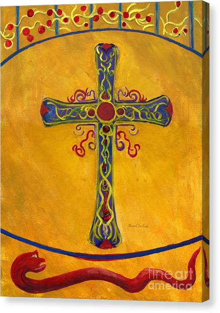 Ornamental Cross And Snake  Canvas Print