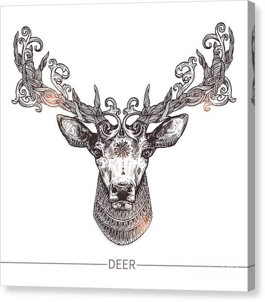 Hunt Canvas Print - Ornamental Tattoo Deer Head. Highly by Alex Rockheart