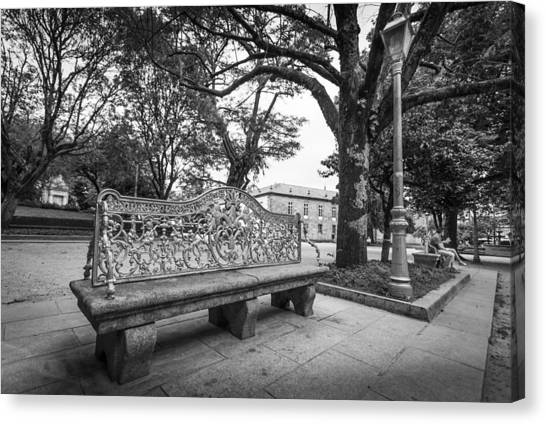Canvas Print featuring the photograph Ornate Bench by Gary Gillette