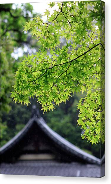 Ornately Designed Roof And Japanese Canvas Print by Paul Dymond