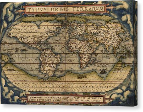 Ortelius Old World Map Canvas Print