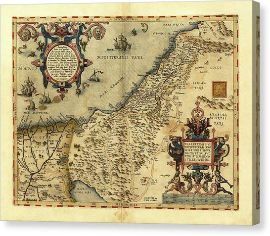 Palestinian Canvas Print - Ortelius's Map Of Palestine by Library Of Congress, Geography And Map Division/science Photo Library