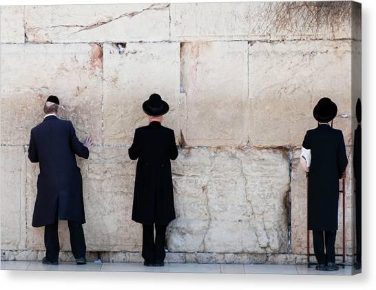 Orthodox Jewish Men Praying At The Canvas Print by Nils Juenemann / Eyeem