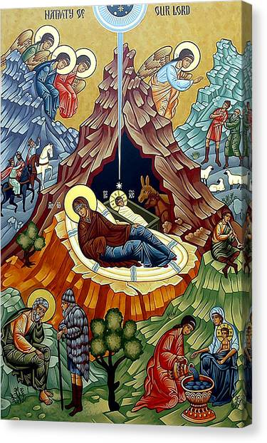 Orthodox Art Canvas Print - Orthodox Nativity Of Christ by Munir Alawi