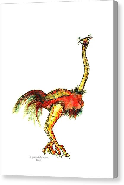 Ostrich Card No Wording Canvas Print