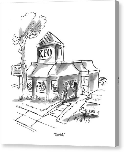 Fast Food Canvas Print - Ostrich by Sidney Harris