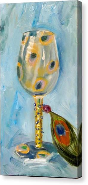 Ostrich Wine Glass Canvas Print