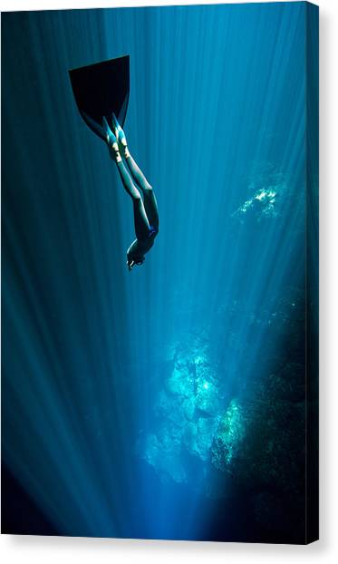Mermaid Canvas Print - Into The Blue by One ocean One breath