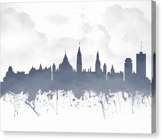 Ottawa Canvas Print - Ottawa Ontario Skyline - Blue 03 by Aged Pixel