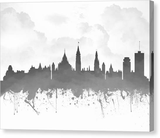 Ottawa Canvas Print - Ottawa Ontario Skyline - Gray 03 by Aged Pixel