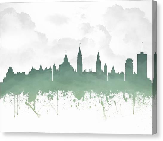 Ottawa Canvas Print - Ottawa Ontario Skyline - Teal 03 by Aged Pixel