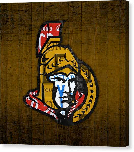 Ottawa Senators Canvas Print - Ottawa Senators Hockey Team Retro Logo Vintage Recycled Ontario Canada License Plate Art by Design Turnpike