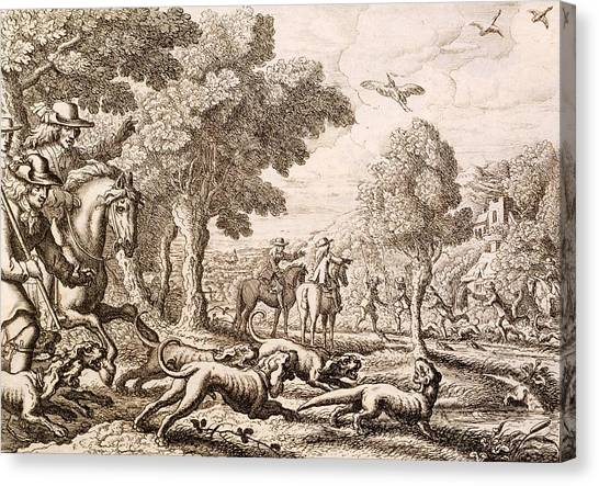 Otters Canvas Print - Otter Hunting By A River, Engraved by Francis Barlow