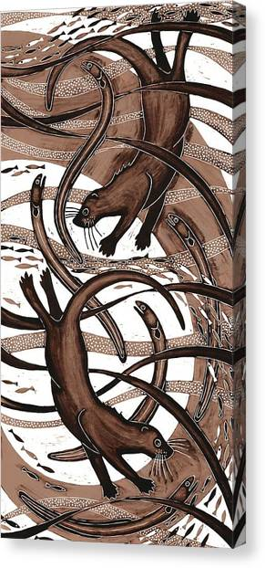 Printmaking Canvas Print - Otter With Eel, 2013 Woodcut by Nat Morley