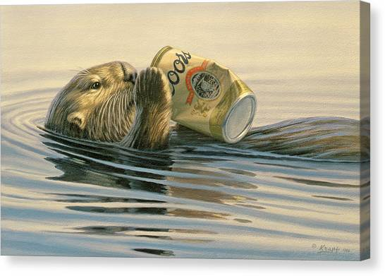 Beer Can Canvas Print - Otter's Toy by Paul Krapf