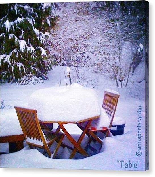 Tables Canvas Print - Our Deck Table In The Snow by Anna Porter