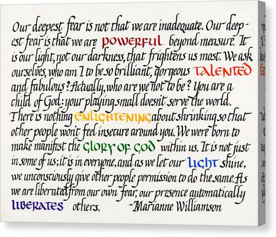 Calligraphy Canvas Print - Our Deepest Fear by Sondra Venable