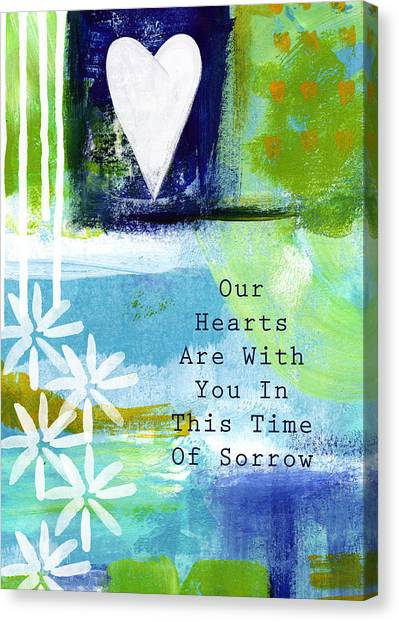 Sympathy Canvas Print - Our Hearts Are With You- Sympathy Card by Linda Woods