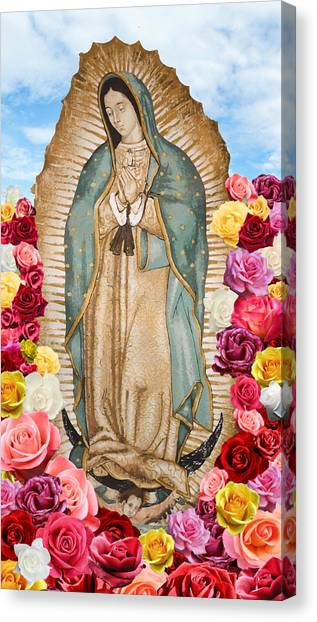 Canvas Print featuring the digital art Our Lady Of Guadalupe by Nancy Ingersoll