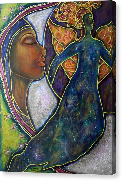 Our Lady Of Moonlit Mysteries Canvas Print by Marie Howell Gallery