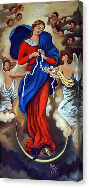 Satan Canvas Print - Our Lady Undoer Of Knots by Valerie Vescovi
