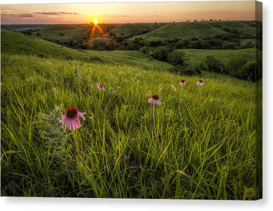 Prairie Sunsets Canvas Print - Out In The Flint Hills by Scott Bean