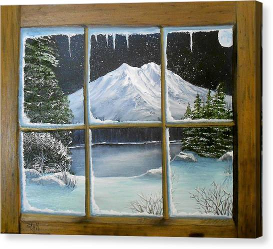 Out My Window-bright Winter's Night Canvas Print