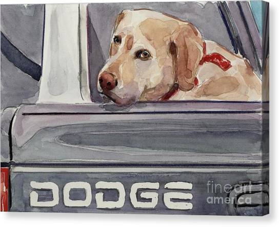 Yellow Lab Canvas Print - Out Of Dodge by Molly Poole
