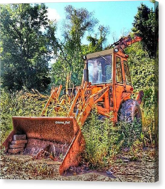 Backhoes Canvas Print - Out Of Service by Brian Lyons