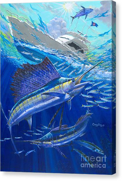 Spearfishing Canvas Print - Out Of Sight by Carey Chen