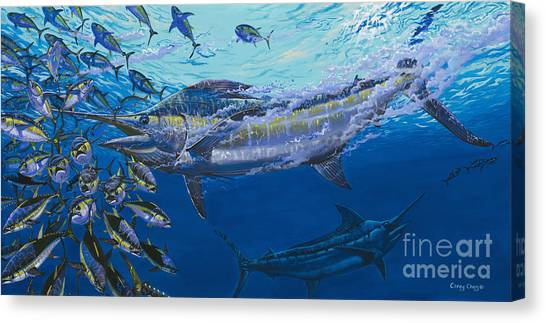 Spearfishing Canvas Print - Out Of The Blue Off009 by Carey Chen