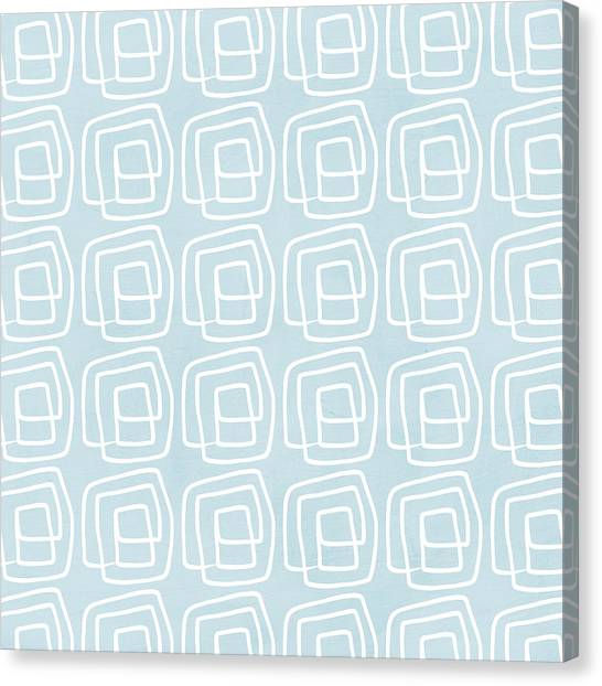 Geometry Canvas Print - Out Of The Box Blue And White Pattern by Linda Woods