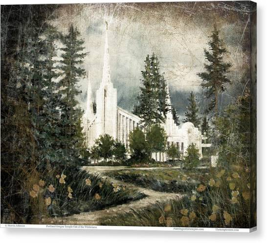 Out Of The Wilderness Portland Oregon Temple Canvas Print