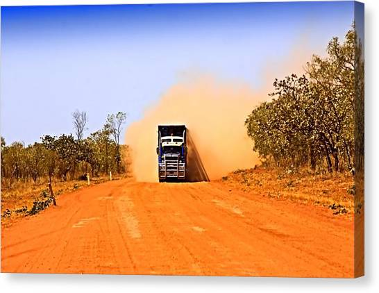 Canvas Print featuring the photograph Outback Road Train by David Rich