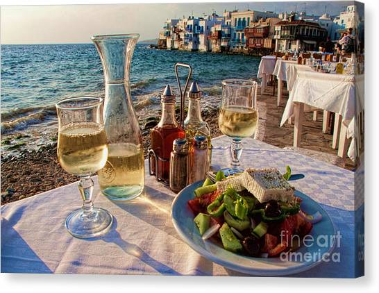 Salad Canvas Print - Outdoor Cafe In Little Venice In Mykonos Greece by David Smith