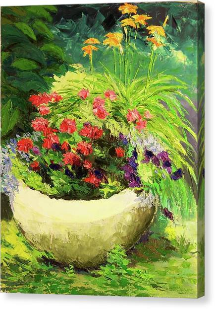 Outdoor Flower Pot  Canvas Print