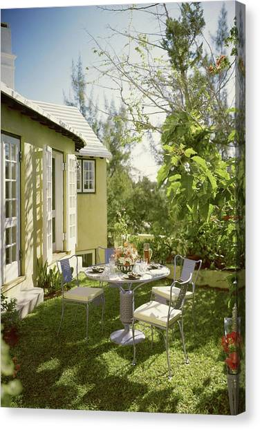 Outdoor Furniture At Shoreland House Canvas Print
