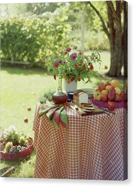 Outdoor Lunch In The Shade Of A Tree Canvas Print