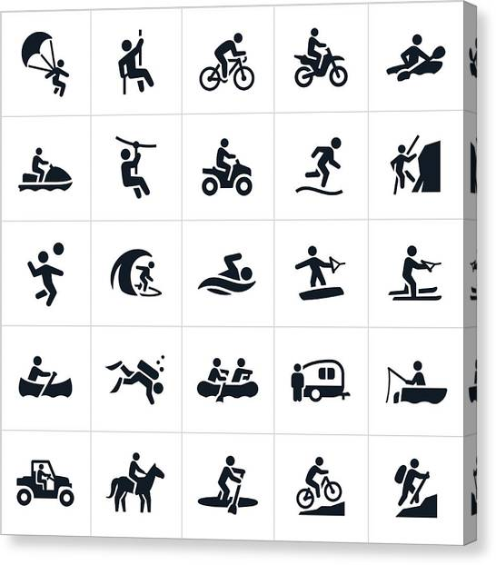 Outdoor Summer Recreation Icons Canvas Print by Appleuzr