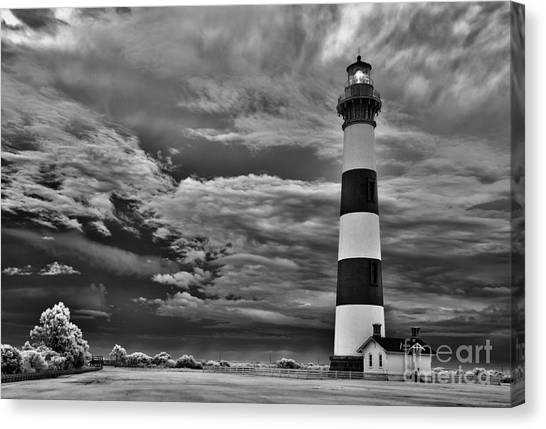 outer Banks - Stormy Day at Bodie Lighthouse BW Canvas Print