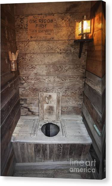 Canvas Print featuring the photograph Outhouse Interior by Bryan Mullennix