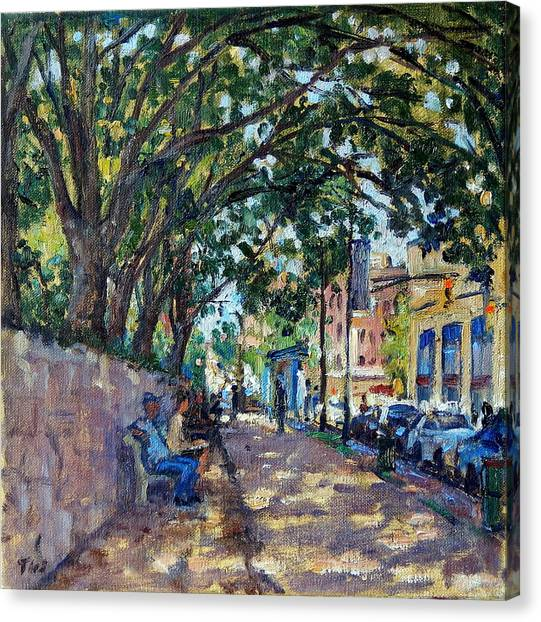Outside Isham Park Summertime On Broadway Canvas Print