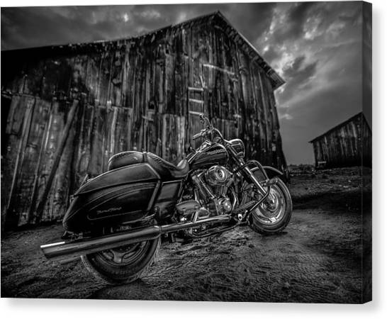 Outside The Barn Bw Canvas Print
