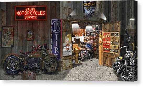 Motorcycle Canvas Print - Outside The Motorcycle Shop by Mike McGlothlen