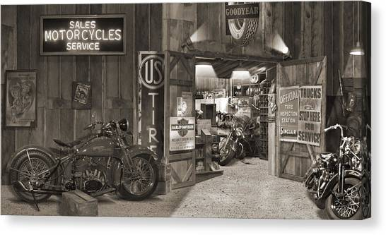 Outside The Old Motorcycle Shop - Spia Canvas Print