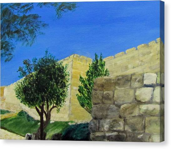 Canvas Print featuring the painting Outside The Wall - Jerusalem by Linda Feinberg