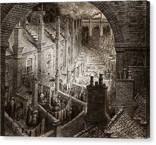 Train Canvas Print - Over London by Gustave Dore